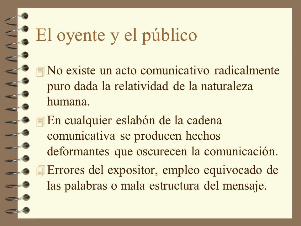 El oyente y el público 4 No existe un acto comunicativo radicalmente puro dada la relatividad de la naturaleza humana. 4 En cualquier eslabón de la ca