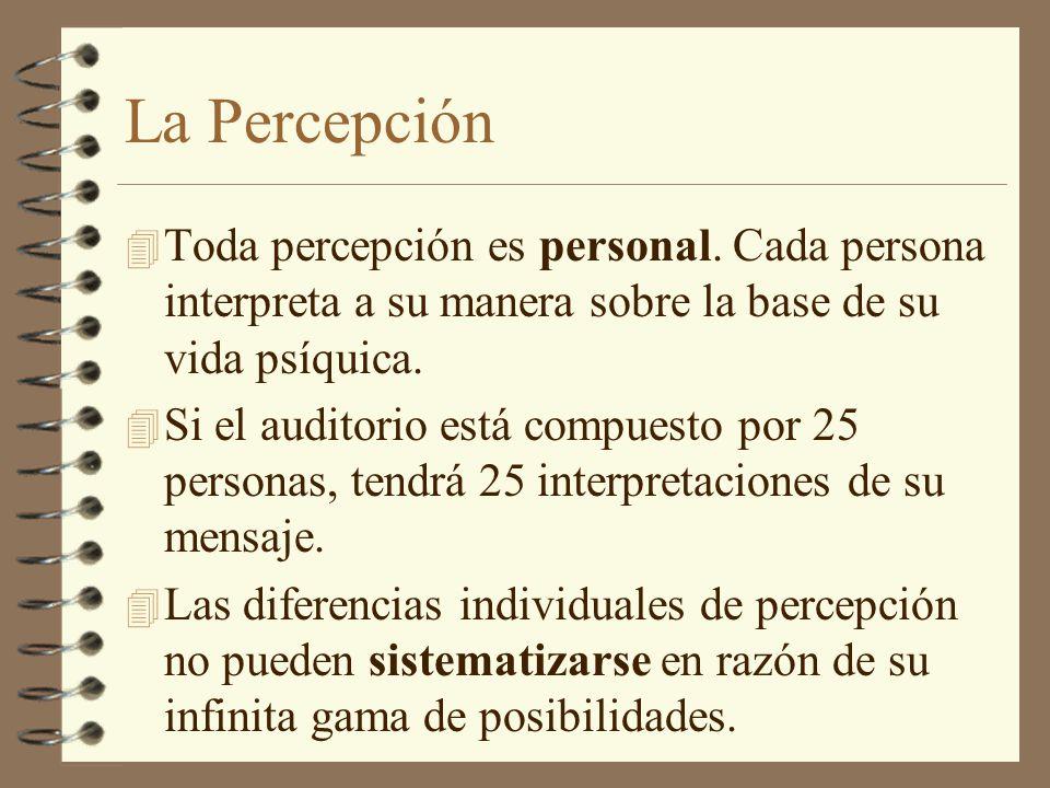 La Percepción 4 Toda percepción es personal. Cada persona interpreta a su manera sobre la base de su vida psíquica. 4 Si el auditorio está compuesto p