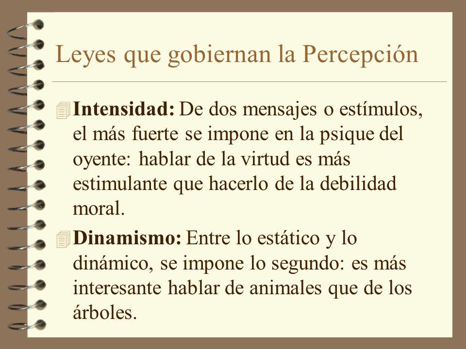 Leyes que gobiernan la Percepción 4 Intensidad: De dos mensajes o estímulos, el más fuerte se impone en la psique del oyente: hablar de la virtud es m