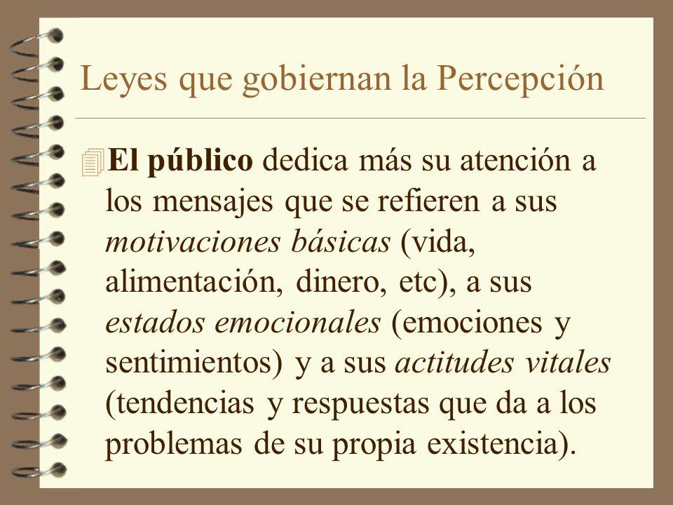 Leyes que gobiernan la Percepción 4 El público dedica más su atención a los mensajes que se refieren a sus motivaciones básicas (vida, alimentación, d