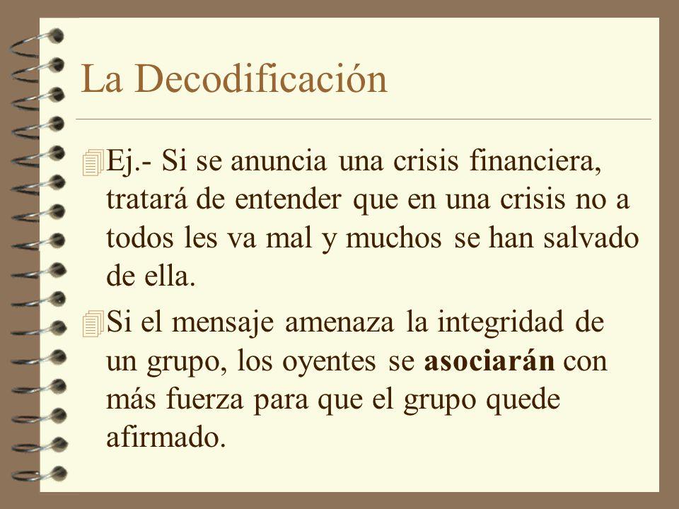 La Decodificación 4 Ej.- Si se anuncia una crisis financiera, tratará de entender que en una crisis no a todos les va mal y muchos se han salvado de e