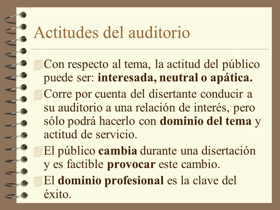 Actitudes del auditorio 4 Con respecto al tema, la actitud del público puede ser: interesada, neutral o apática. 4 Corre por cuenta del disertante con