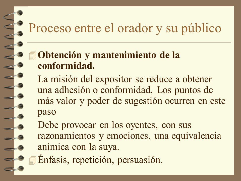 Proceso entre el orador y su público 4 Obtención y mantenimiento de la conformidad. La misión del expositor se reduce a obtener una adhesión o conform