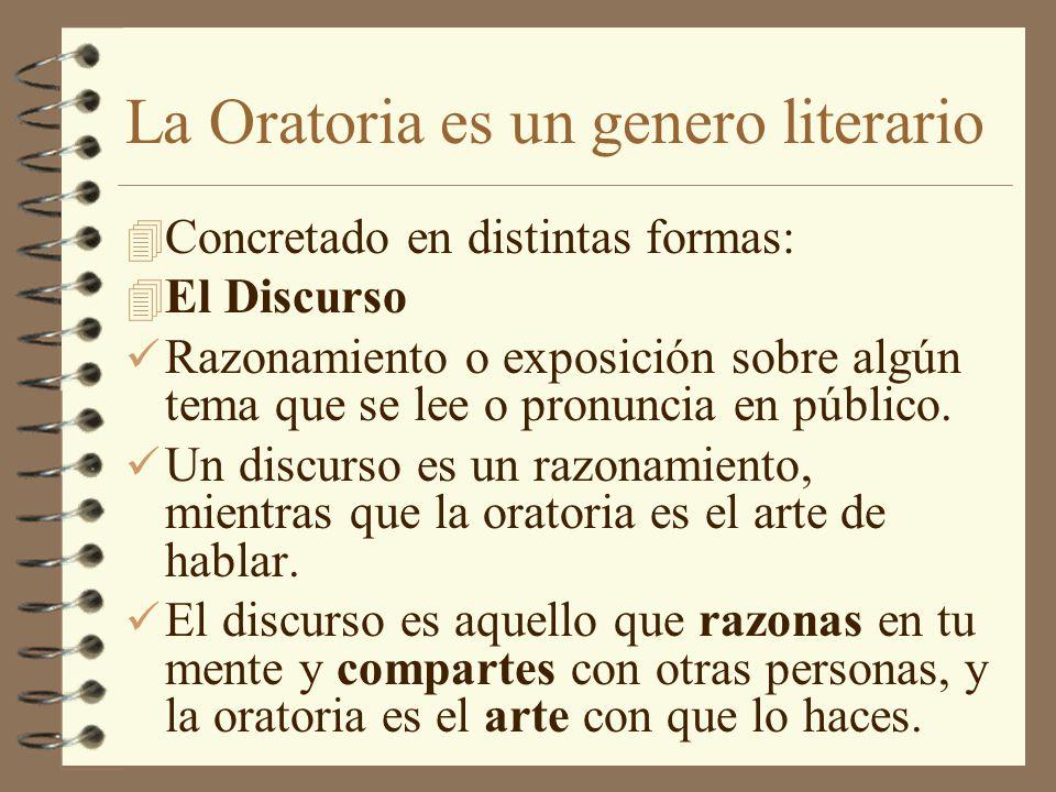 La Oratoria es un genero literario 4 Concretado en distintas formas: 4 El Discurso Razonamiento o exposición sobre algún tema que se lee o pronuncia e
