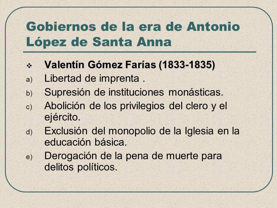 Gobiernos de la era de Antonio López de Santa Anna Valentín Gómez Farías (1833-1835) Valentín Gómez Farías (1833-1835) a) Libertad de imprenta. b) Sup