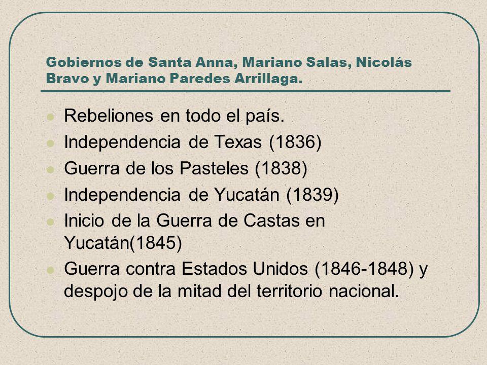 Gobiernos de Santa Anna, Mariano Salas, Nicolás Bravo y Mariano Paredes Arrillaga. Rebeliones en todo el país. Independencia de Texas (1836) Guerra de