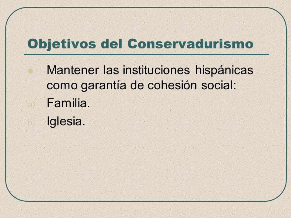 Objetivos del Conservadurismo Mantener las instituciones hispánicas como garantía de cohesión social: a) Familia. b) Iglesia.