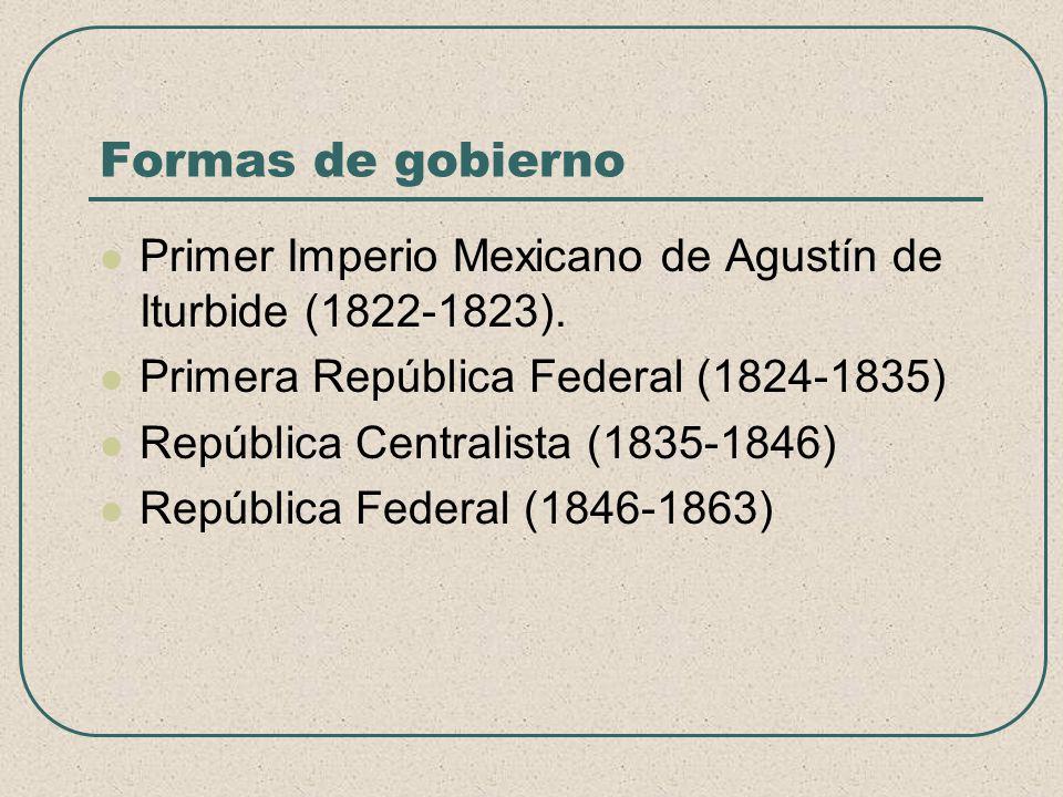 Formas de gobierno Primer Imperio Mexicano de Agustín de Iturbide (1822-1823). Primera República Federal (1824-1835) República Centralista (1835-1846)
