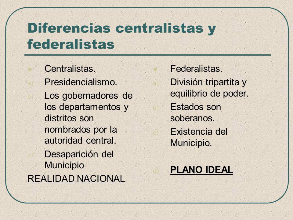 Diferencias centralistas y federalistas Centralistas. a) Presidencialismo. b) Los gobernadores de los departamentos y distritos son nombrados por la a