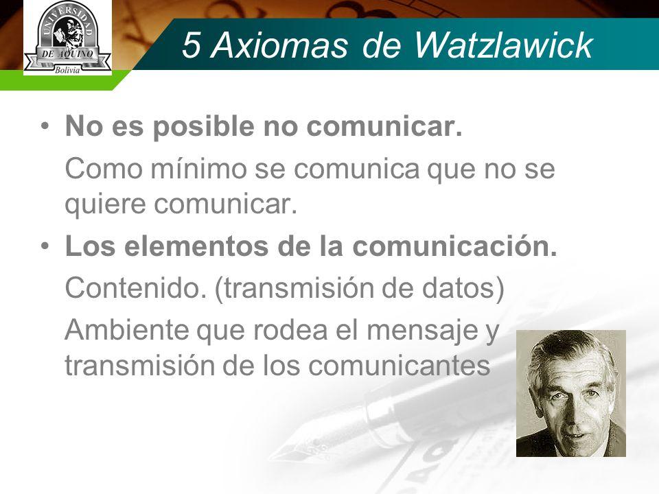 5 Axiomas de Watzlawick No es posible no comunicar.