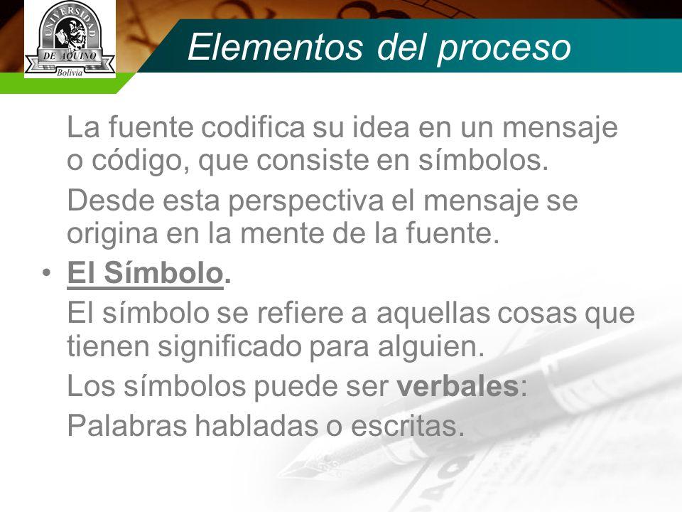 Elementos del proceso La fuente codifica su idea en un mensaje o código, que consiste en símbolos.