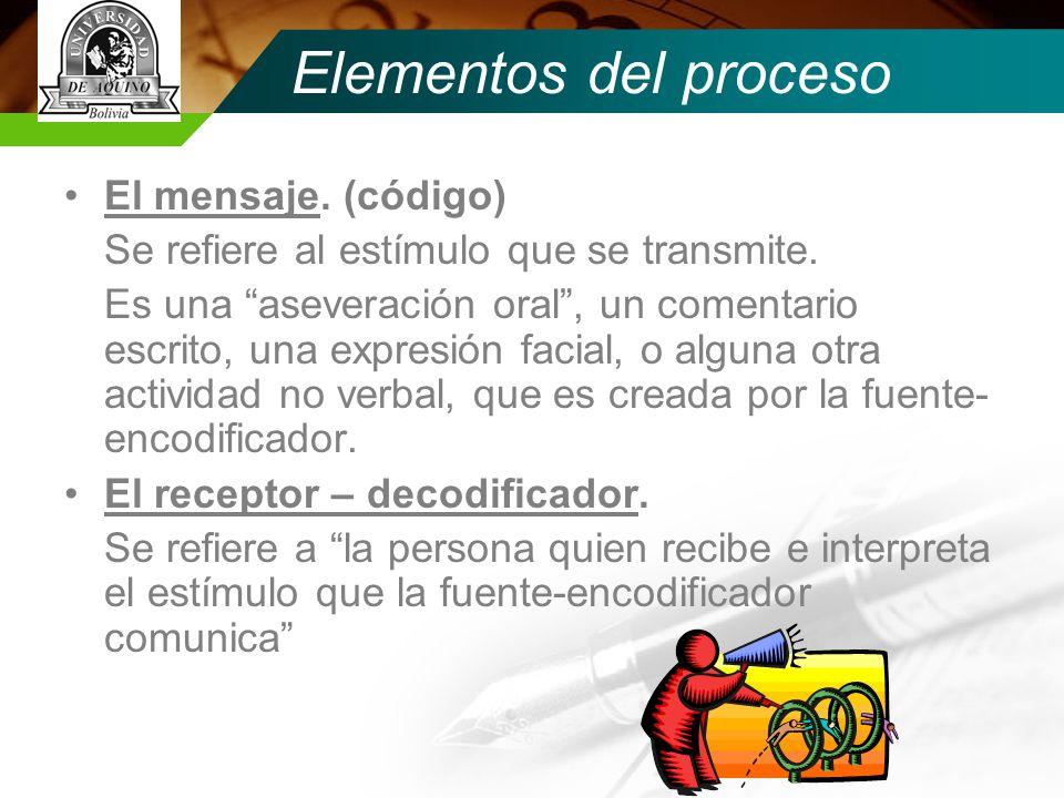 Elementos del proceso El mensaje.(código) Se refiere al estímulo que se transmite.
