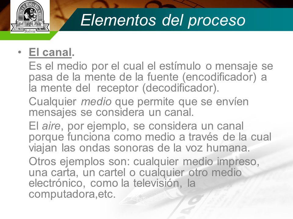 Elementos del proceso El canal.
