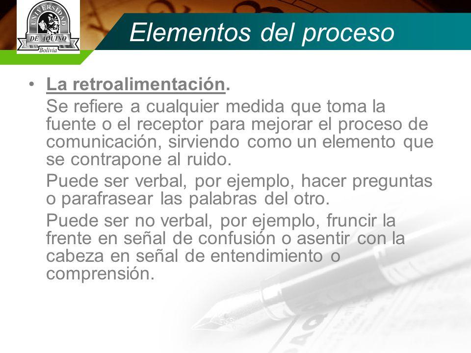 Elementos del proceso La retroalimentación.