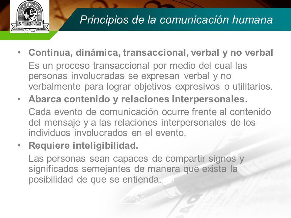 Principios de la comunicación humana Continua, dinámica, transaccional, verbal y no verbal Es un proceso transaccional por medio del cual las personas involucradas se expresan verbal y no verbalmente para lograr objetivos expresivos o utilitarios.