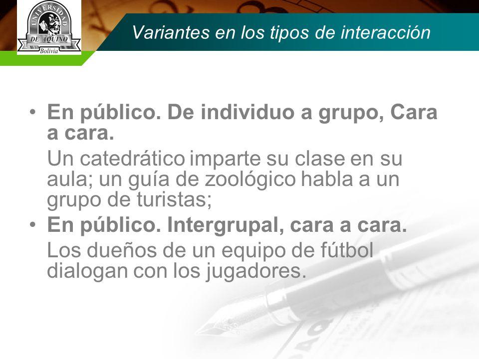 Variantes en los tipos de interacción En público.De individuo a grupo, Cara a cara.