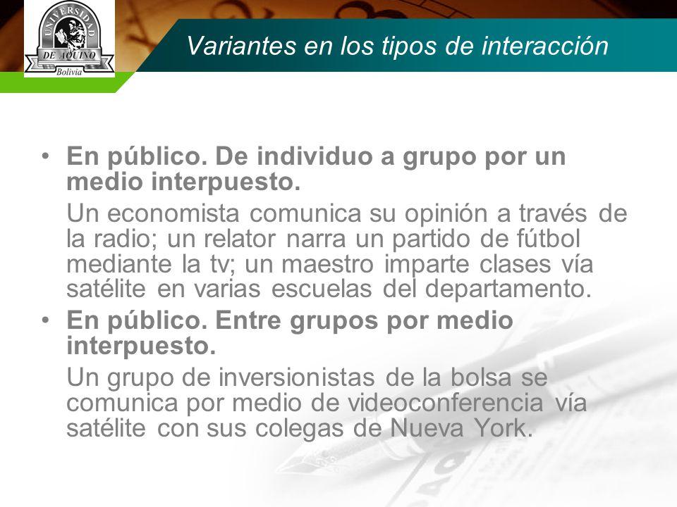 Variantes en los tipos de interacción En público.De individuo a grupo por un medio interpuesto.