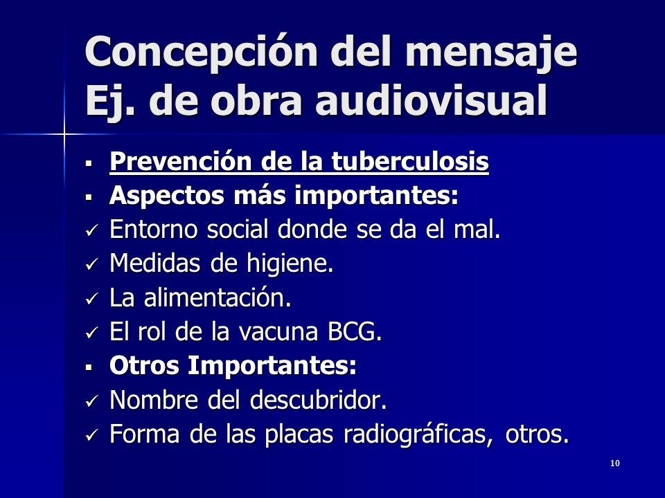10 Concepción del mensaje Ej. de obra audiovisual Prevención de la tuberculosis Prevención de la tuberculosis Aspectos más importantes: Aspectos más i