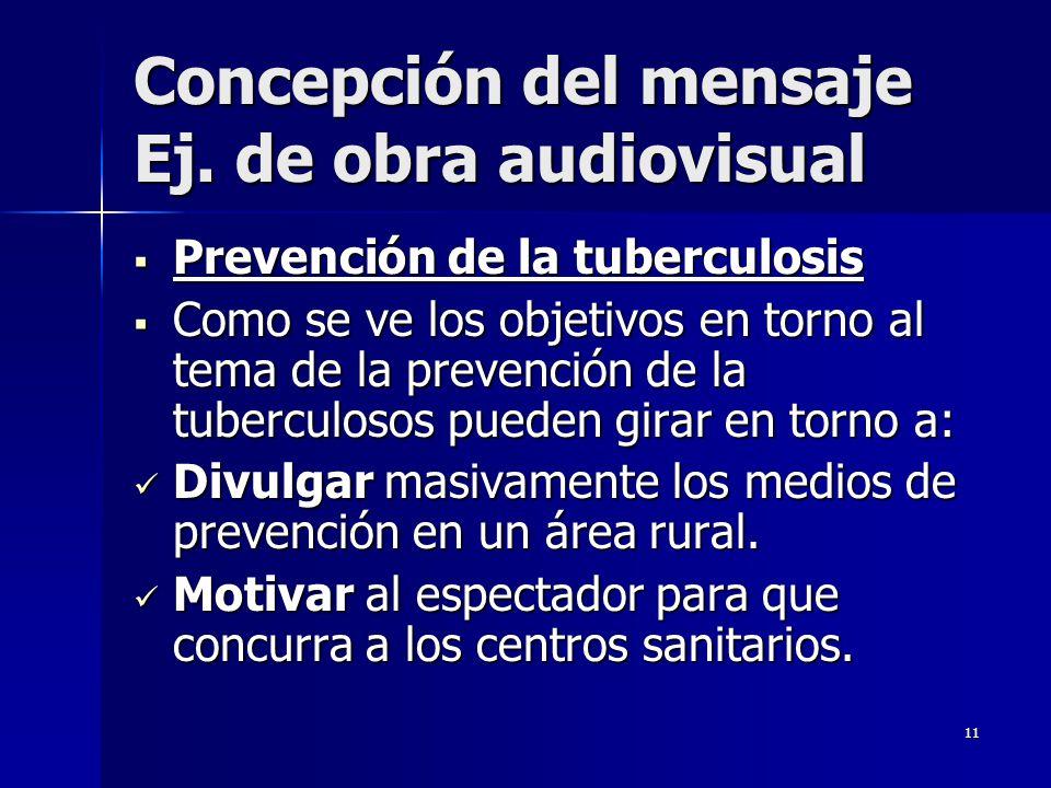 11 Concepción del mensaje Ej. de obra audiovisual Prevención de la tuberculosis Prevención de la tuberculosis Como se ve los objetivos en torno al tem