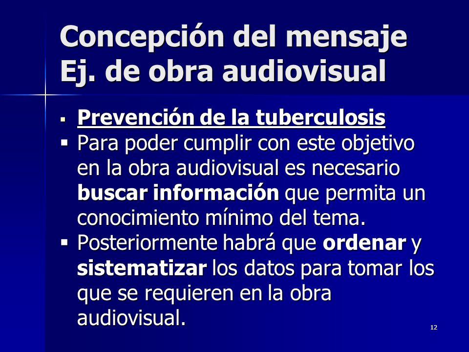 12 Concepción del mensaje Ej. de obra audiovisual Prevención de la tuberculosis Prevención de la tuberculosis Para poder cumplir con este objetivo en