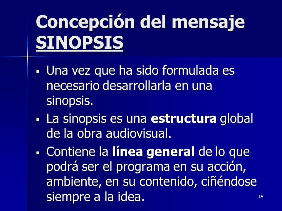 14 Concepción del mensaje SINOPSIS Una vez que ha sido formulada es necesario desarrollarla en una sinopsis. Una vez que ha sido formulada es necesari