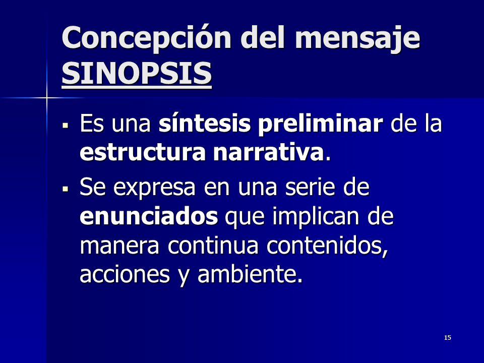 15 Concepción del mensaje SINOPSIS Es una síntesis preliminar de la estructura narrativa. Es una síntesis preliminar de la estructura narrativa. Se ex