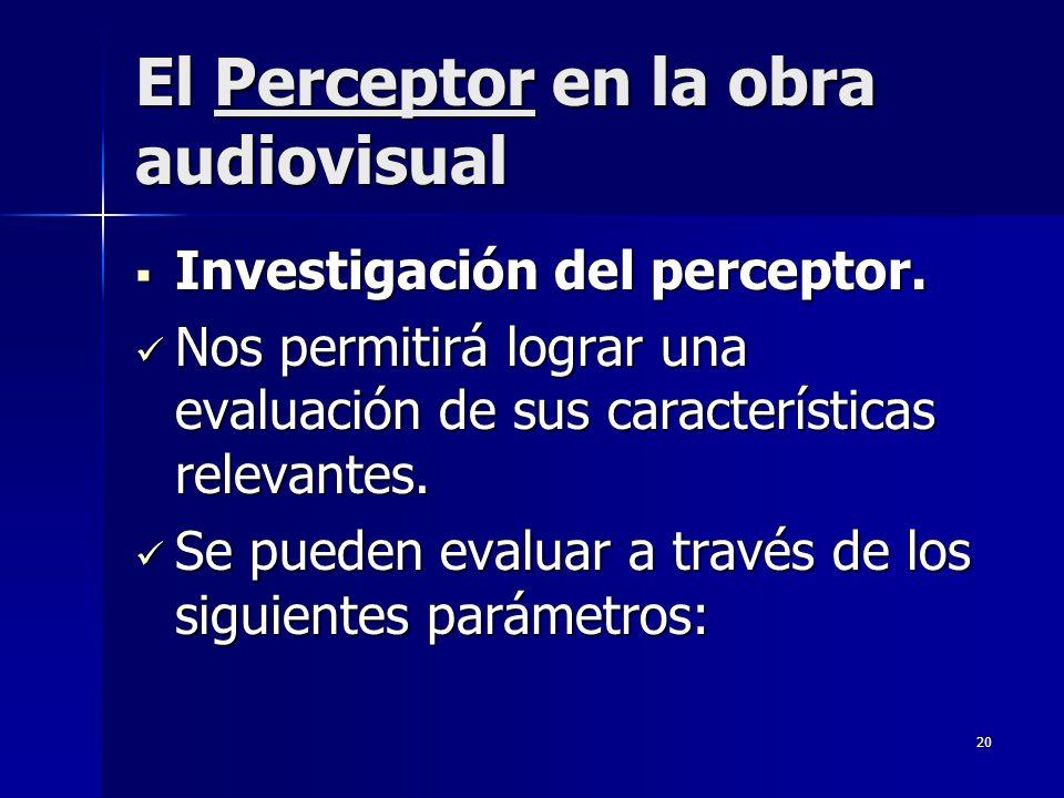 20 El Perceptor en la obra audiovisual Investigación del perceptor. Investigación del perceptor. Nos permitirá lograr una evaluación de sus caracterís