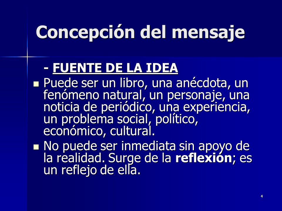 4 Concepción del mensaje - FUENTE DE LA IDEA Puede ser un libro, una anécdota, un fenómeno natural, un personaje, una noticia de periódico, una experi