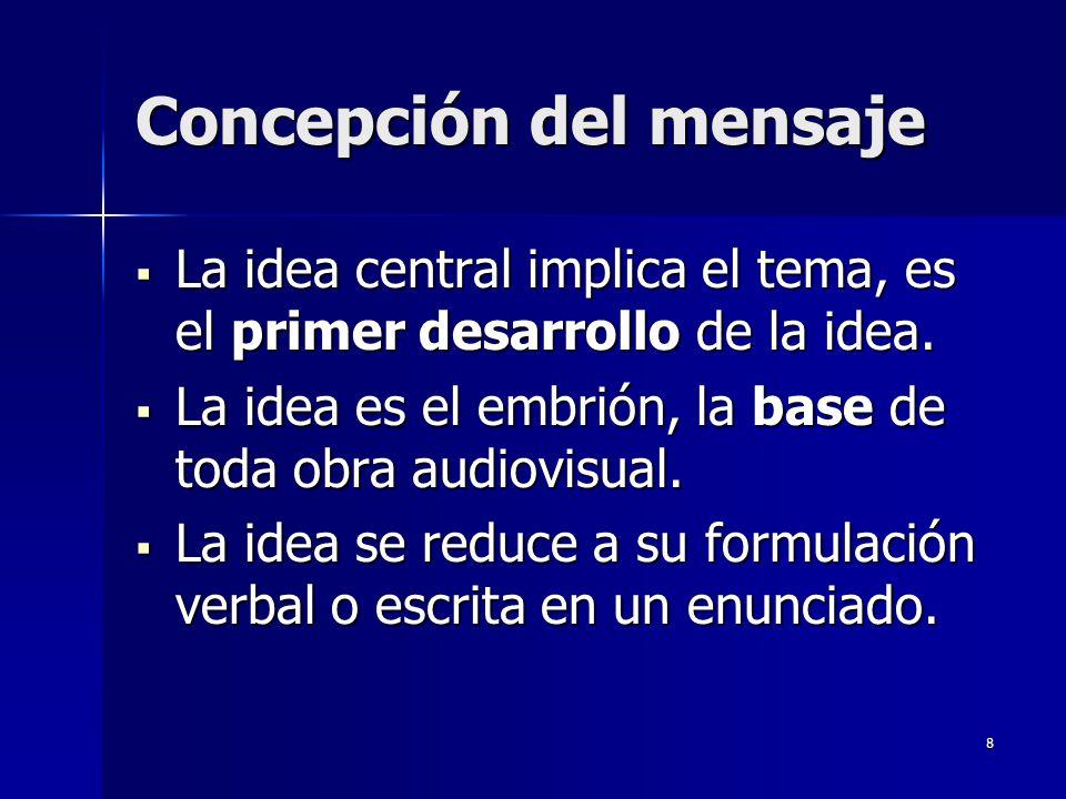 8 Concepción del mensaje La idea central implica el tema, es el primer desarrollo de la idea. La idea central implica el tema, es el primer desarrollo
