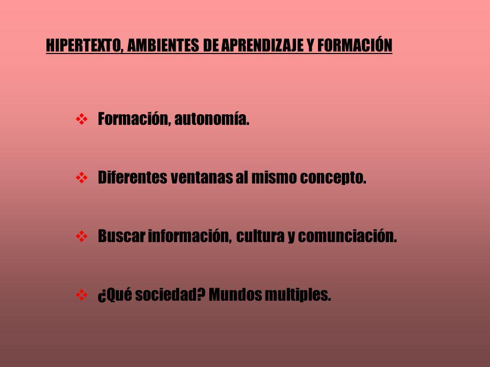 HIPERTEXTO, AMBIENTES DE APRENDIZAJE Y FORMACIÓN Formación, autonomía. Diferentes ventanas al mismo concepto. Buscar información, cultura y comunciaci