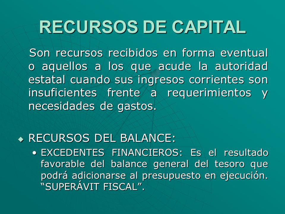 RECURSOS DE CAPITAL Son recursos recibidos en forma eventual o aquellos a los que acude la autoridad estatal cuando sus ingresos corrientes son insufi
