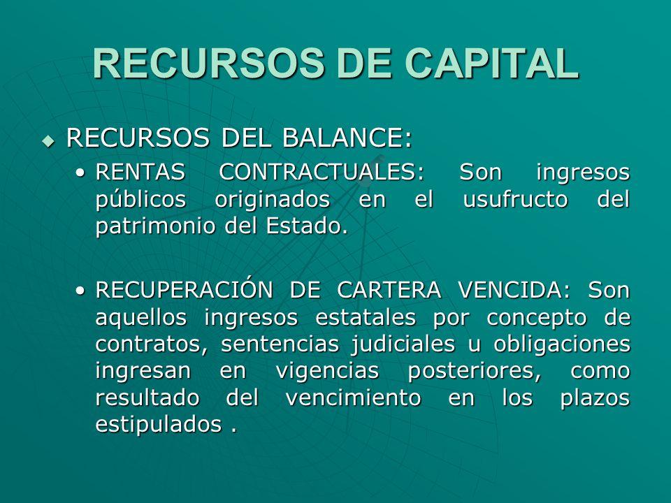 RECURSOS DE CAPITAL RECURSOS DEL BALANCE: RECURSOS DEL BALANCE: RENTAS CONTRACTUALES: Son ingresos públicos originados en el usufructo del patrimonio