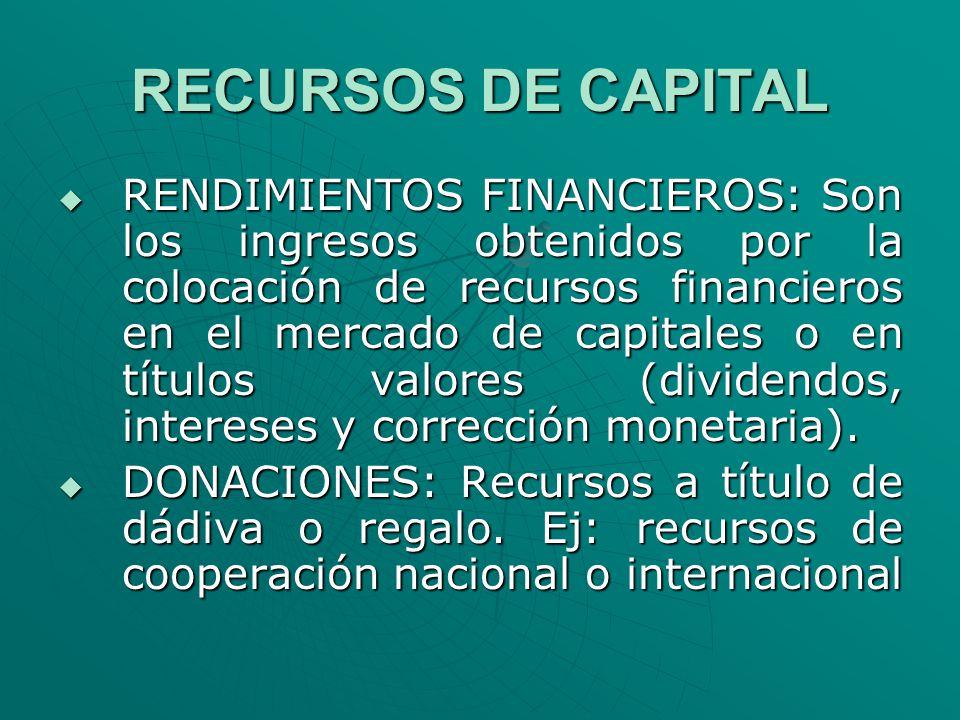 RECURSOS DE CAPITAL RENDIMIENTOS FINANCIEROS: Son los ingresos obtenidos por la colocación de recursos financieros en el mercado de capitales o en tít