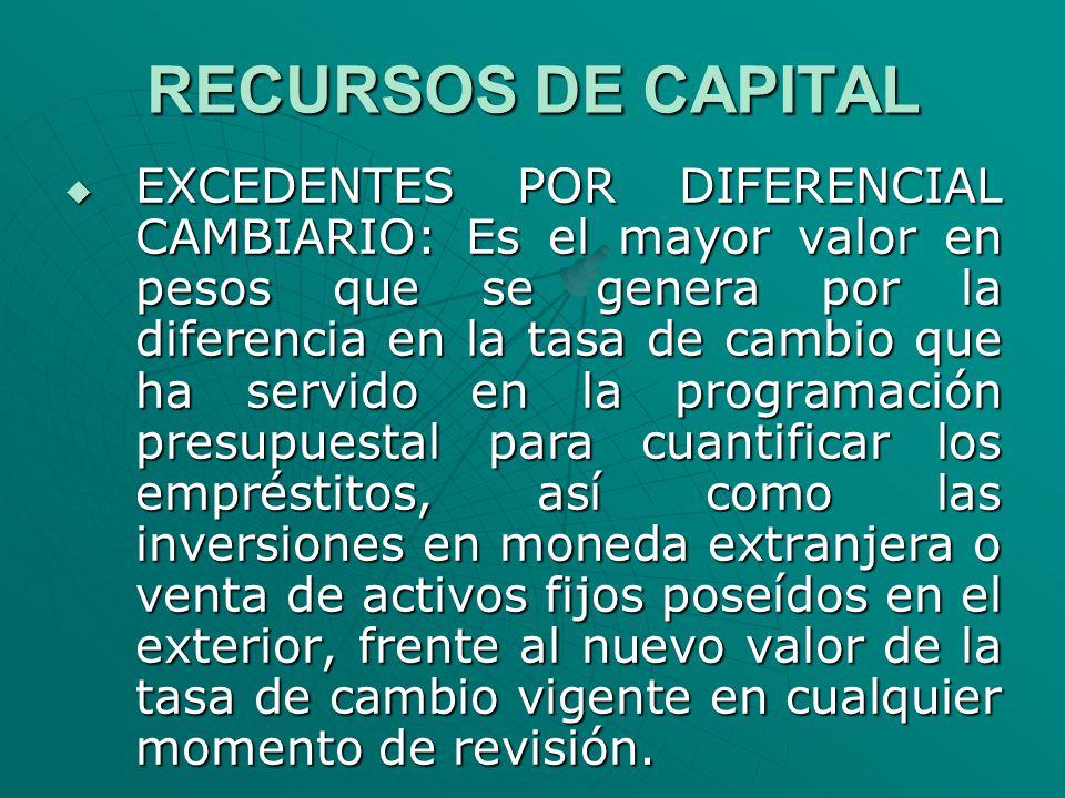 RECURSOS DE CAPITAL EXCEDENTES POR DIFERENCIAL CAMBIARIO: Es el mayor valor en pesos que se genera por la diferencia en la tasa de cambio que ha servi