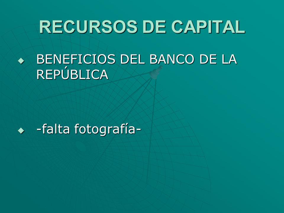 RECURSOS DE CAPITAL BENEFICIOS DEL BANCO DE LA REPÚBLICA BENEFICIOS DEL BANCO DE LA REPÚBLICA -falta fotografía- -falta fotografía-