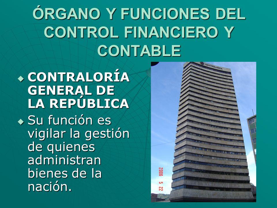 ÓRGANO Y FUNCIONES DEL CONTROL FINANCIERO Y CONTABLE CONTRALORÍA GENERAL DE LA REPÚBLICA CONTRALORÍA GENERAL DE LA REPÚBLICA Su función es vigilar la
