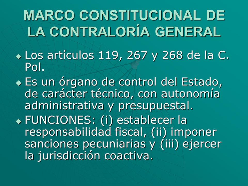 MARCO CONSTITUCIONAL DE LA CONTRALORÍA GENERAL Los artículos 119, 267 y 268 de la C. Pol. Los artículos 119, 267 y 268 de la C. Pol. Es un órgano de c