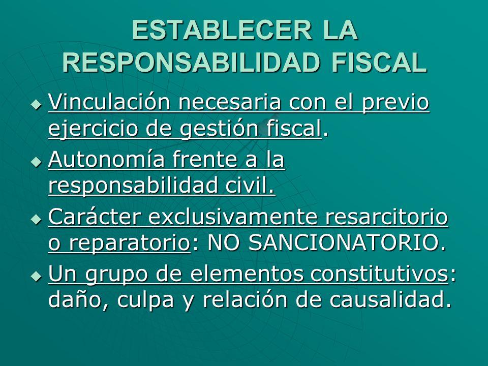 ESTABLECER LA RESPONSABILIDAD FISCAL Vinculación necesaria con el previo ejercicio de gestión fiscal. Vinculación necesaria con el previo ejercicio de