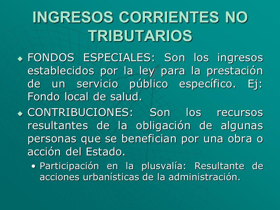 INGRESOS CORRIENTES NO TRIBUTARIOS FONDOS ESPECIALES: Son los ingresos establecidos por la ley para la prestación de un servicio público específico. E