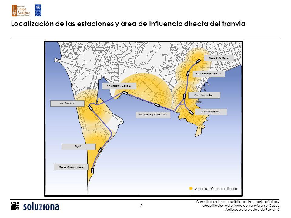 3 Consultoría sobre accesibilidad, transporte público y rehabilitación del sistema de tranvía en el Casco Antiguo de la ciudad de Panamá Localización de las estaciones y área de Influencia directa del tranvía Museo Biodiversidad Av.