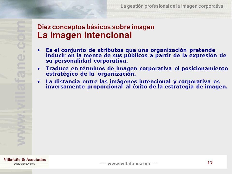 --- www.villafane.com --- www.villafane.co m La gestión profesional de la imagen corporativa 12 Diez conceptos básicos sobre imagen La imagen intencio