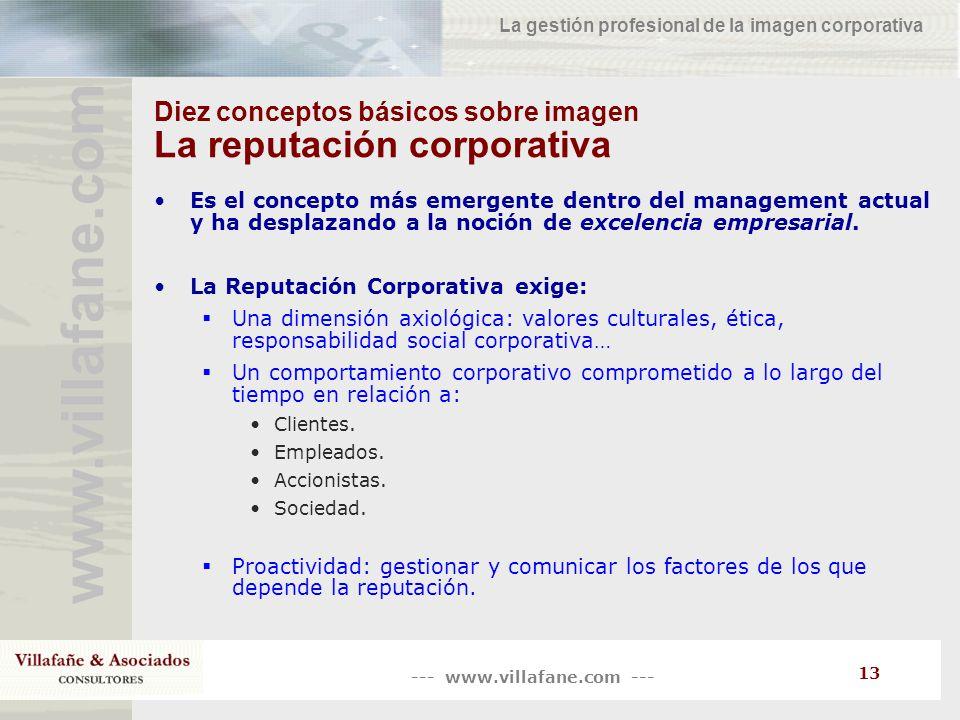 --- www.villafane.com --- www.villafane.co m La gestión profesional de la imagen corporativa 13 Diez conceptos básicos sobre imagen La reputación corp