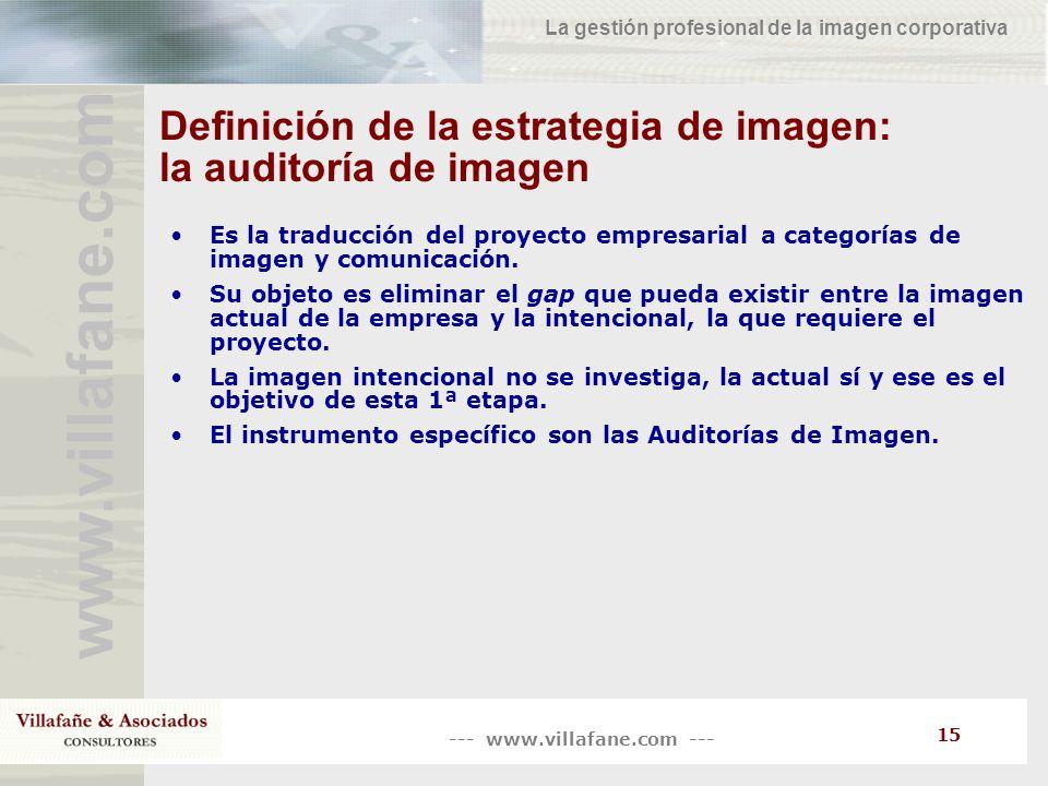 --- www.villafane.com --- www.villafane.co m La gestión profesional de la imagen corporativa 15 Definición de la estrategia de imagen: la auditoría de