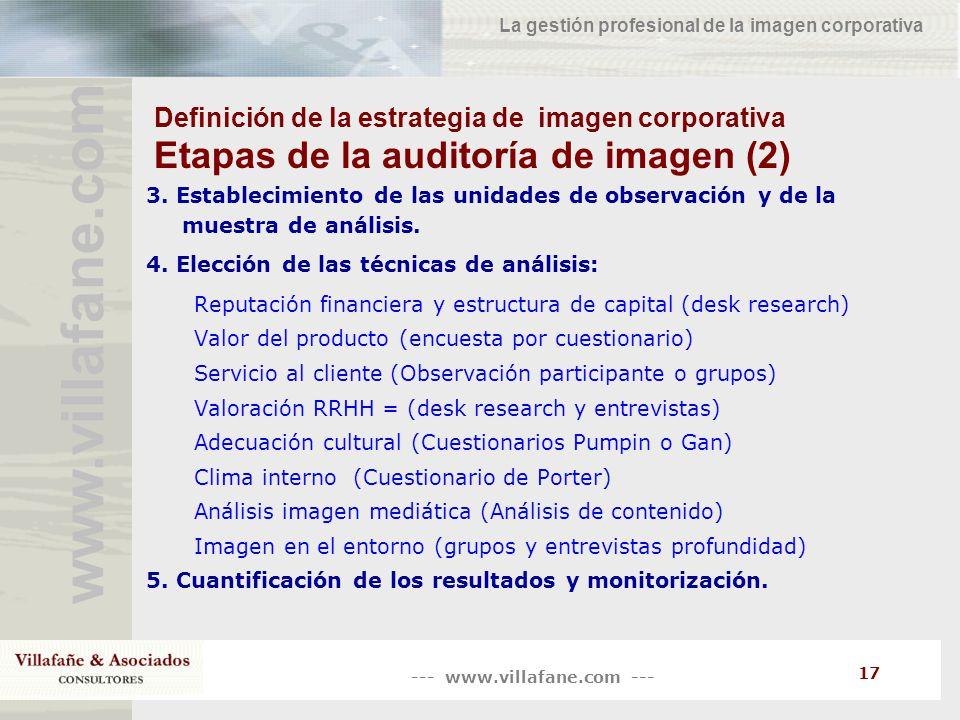 --- www.villafane.com --- www.villafane.co m La gestión profesional de la imagen corporativa 17 Definición de la estrategia de imagen corporativa Etap