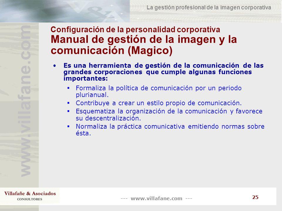 --- www.villafane.com --- www.villafane.co m La gestión profesional de la imagen corporativa 25 Configuración de la personalidad corporativa Manual de
