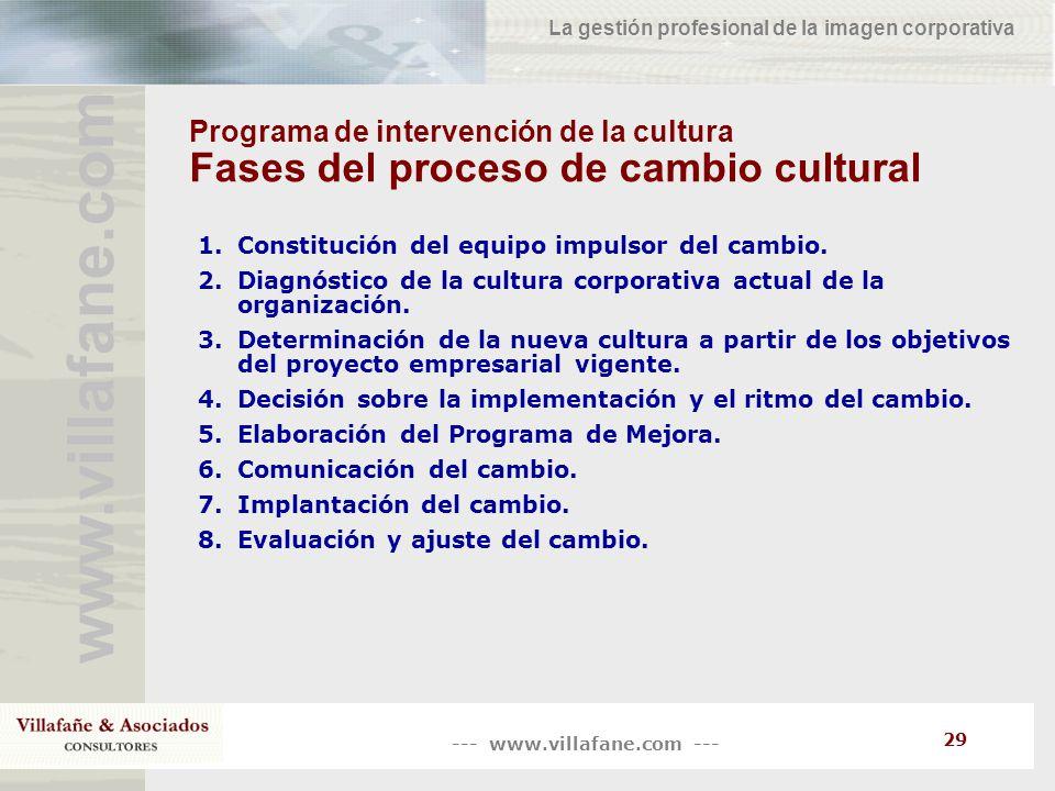 --- www.villafane.com --- www.villafane.co m La gestión profesional de la imagen corporativa 29 Programa de intervención de la cultura Fases del proce