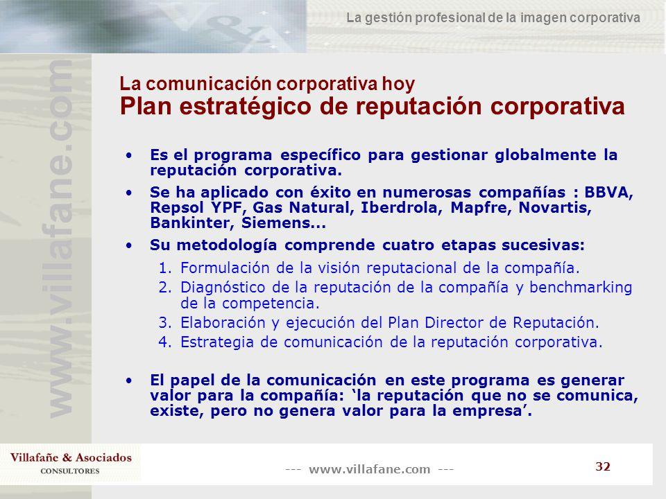 --- www.villafane.com --- www.villafane.co m La gestión profesional de la imagen corporativa 32 La comunicación corporativa hoy Plan estratégico de re