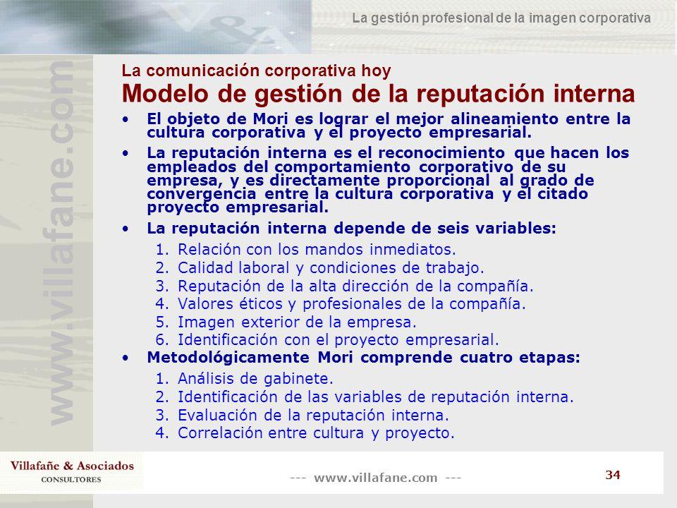 --- www.villafane.com --- www.villafane.co m La gestión profesional de la imagen corporativa 34 La comunicación corporativa hoy Modelo de gestión de l