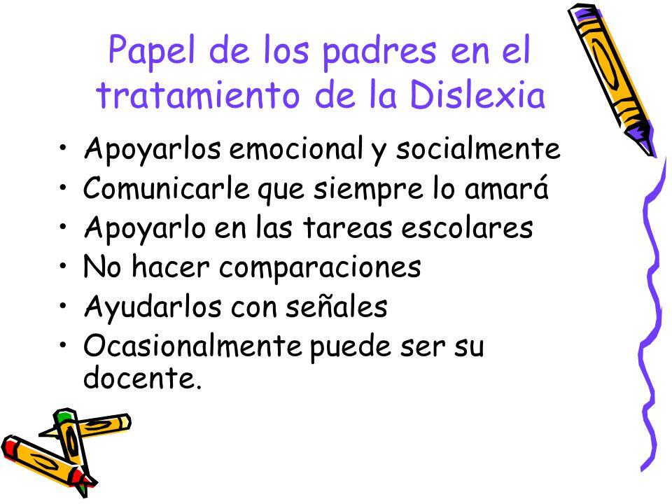 Papel de los padres en el tratamiento de la Dislexia Apoyarlos emocional y socialmente Comunicarle que siempre lo amará Apoyarlo en las tareas escolar