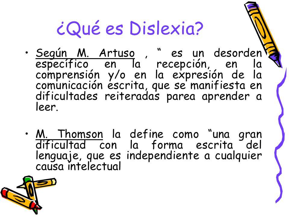 ¿Qué es Dislexia? Según M. Artuso, es un desorden específico en la recepción, en la comprensión y/o en la expresión de la comunicación escrita, que se